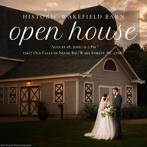 Join us on August 18, from 11am-2pm for our Historic Wakefield Barn Open House. We can't wait to meet with current & potential couples!